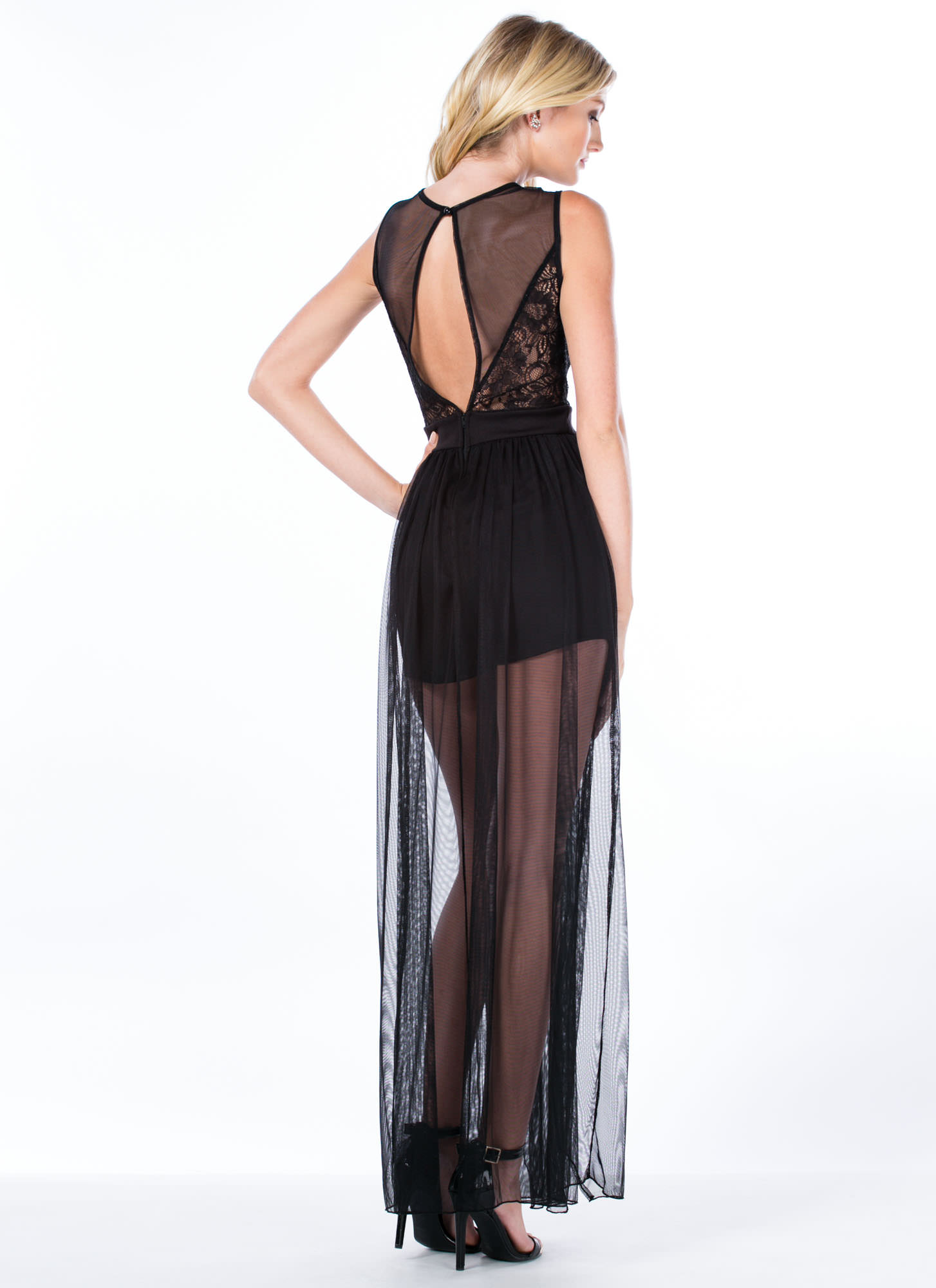 Time To Get Lacy Double Slit Maxi Dress BLACK