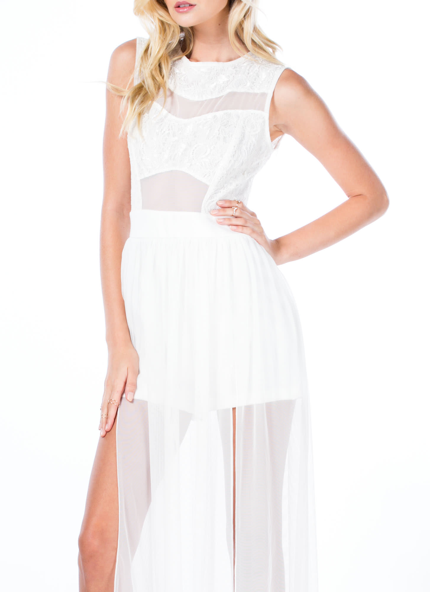 Time To Get Lacy Double Slit Maxi Dress OFFWHITE