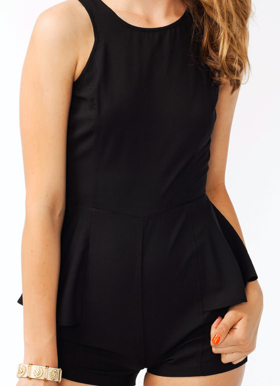 Open Back Peplum Romper BLACK