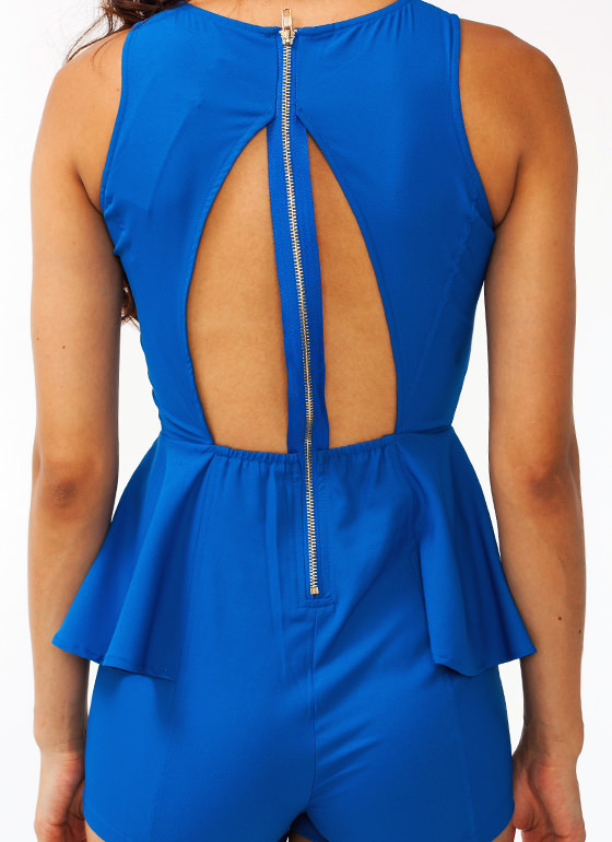 Open Back Peplum Romper ROYAL