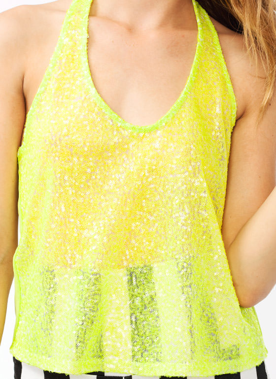 Sequined Top NEONGREEN