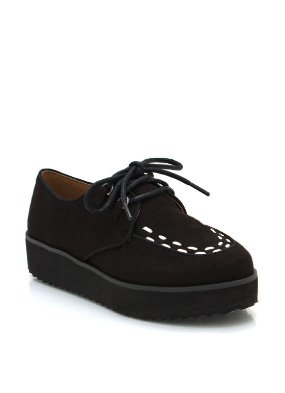 Faux Suede Creepers BLACK