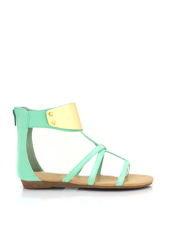 Strappy Faux Leather Sandals SEAGREEN