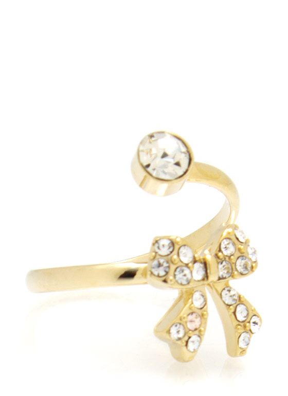 Embellished Bow Open Ring GOLD