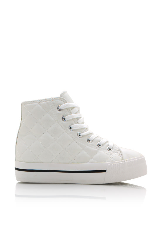 Quilted Platform Sneakers WHITE