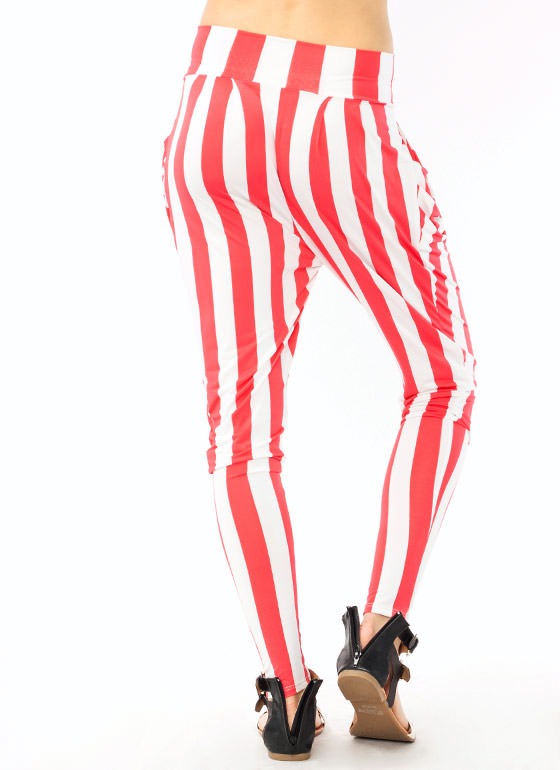 Striped Harem Pants WHITECORAL