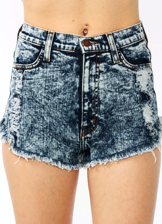 Distressed High Waisted Shorts DKBLUE