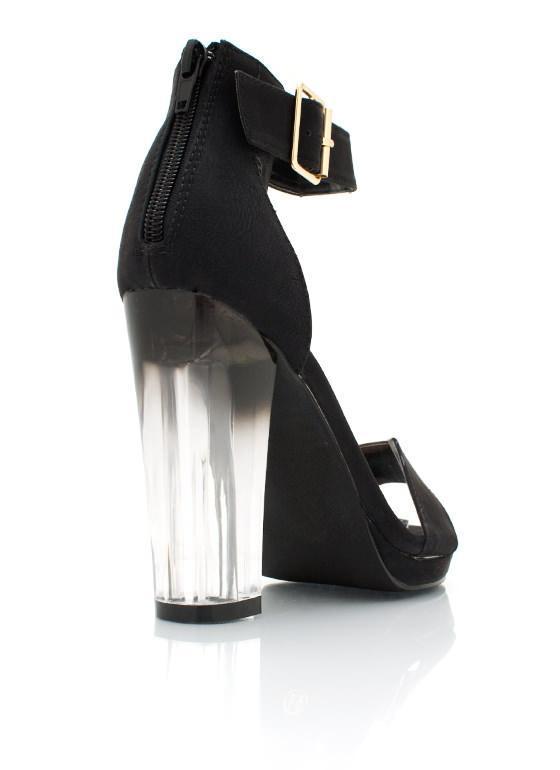 Dip Dye Open Toe Heels BLACK