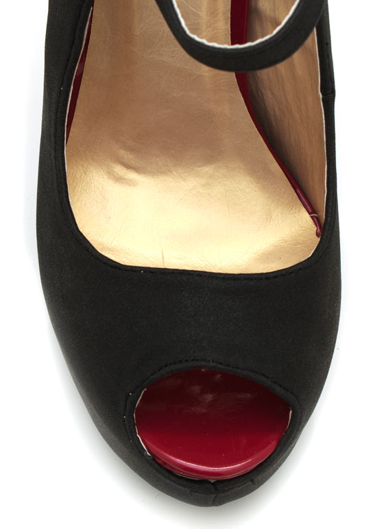 Mary Jane Peep Toe Pumps BLACK