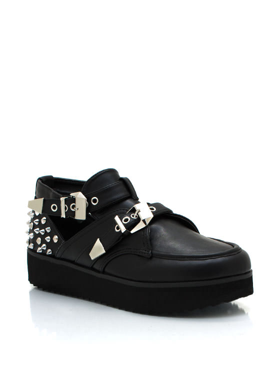 Studded Cut Out Creepers BLACK