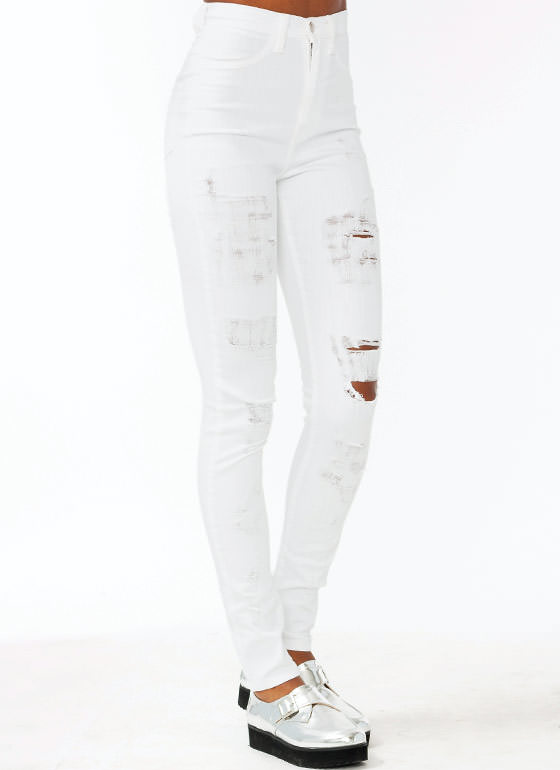 High Waisted Distressed Jeans WHITE