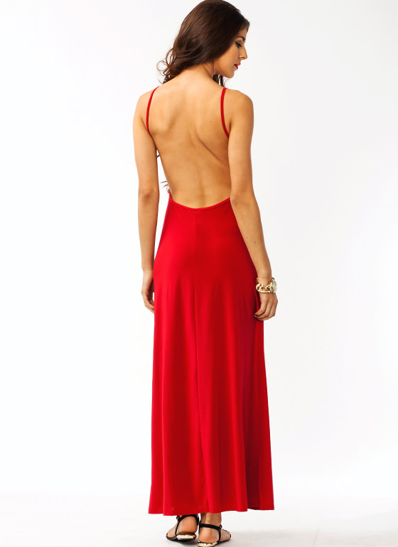 Open Back Maxi Dress RED
