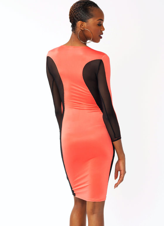 Mesh Contrast Dress CORAL