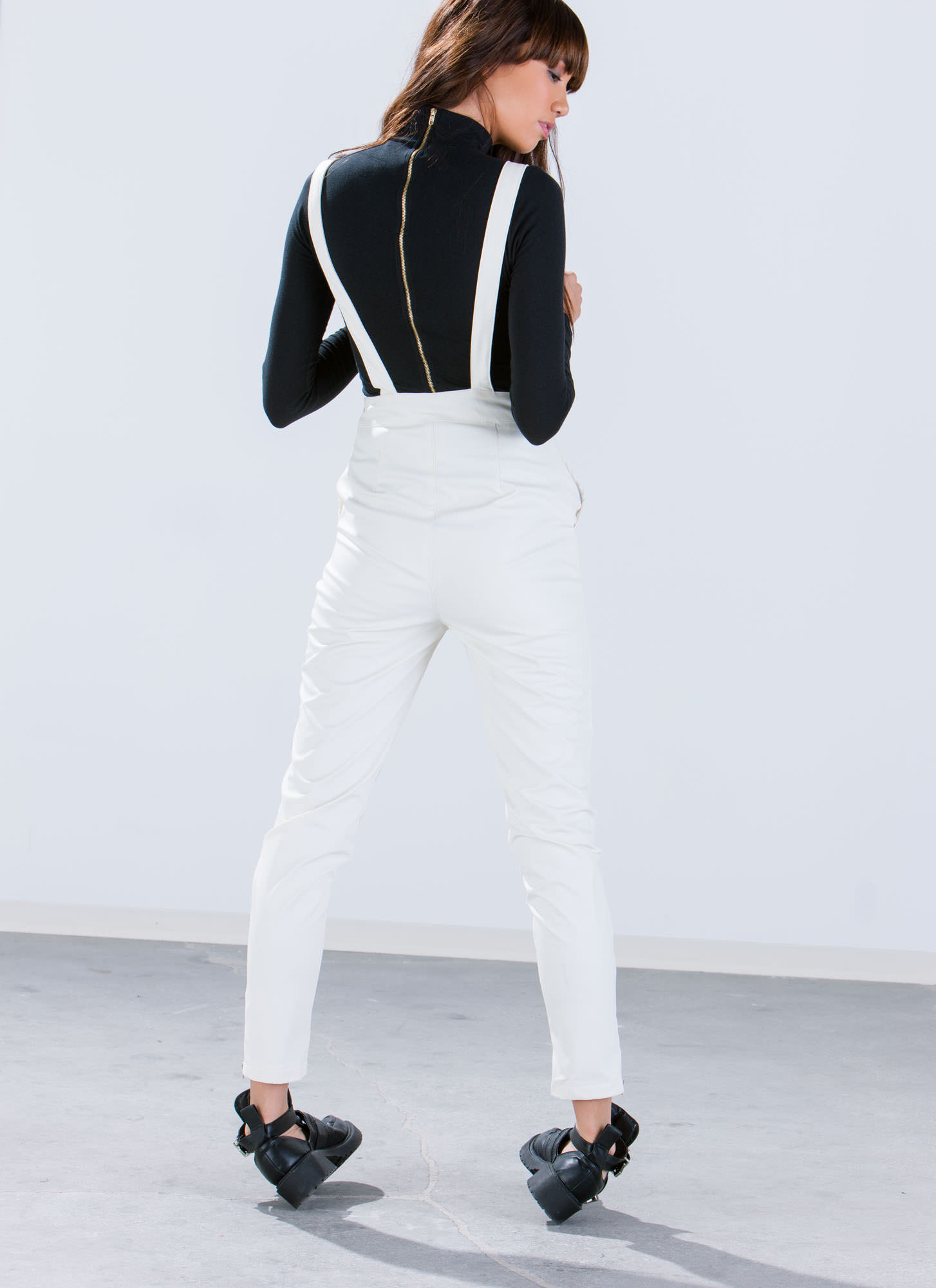 Faux Leather Overalls IVORY