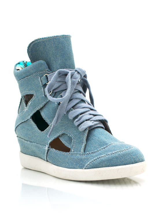 Cut Out Denim Wedge Sneakers LTBLDENIM