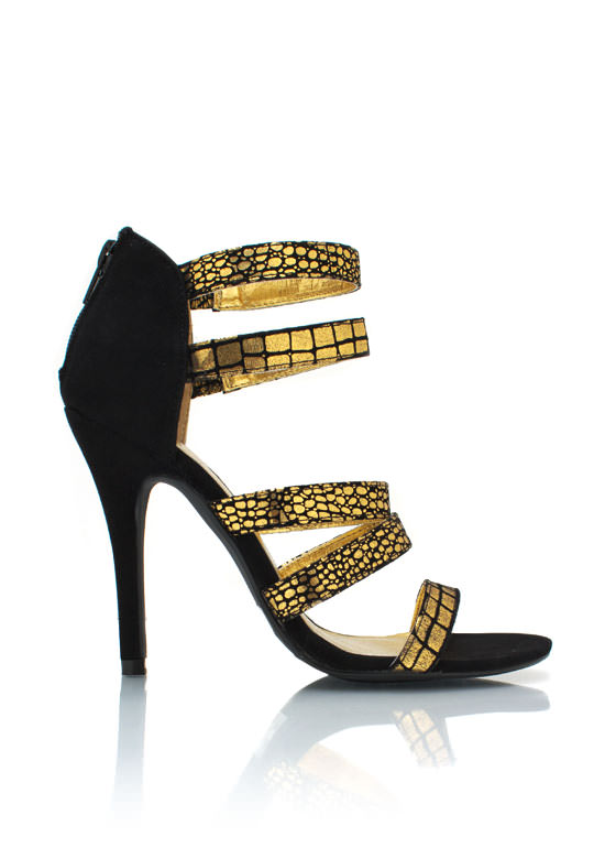 Strappy Metallic Print Heels BLACKGOLD