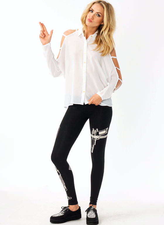 Firearm Printed Leggings BLACKCREAM