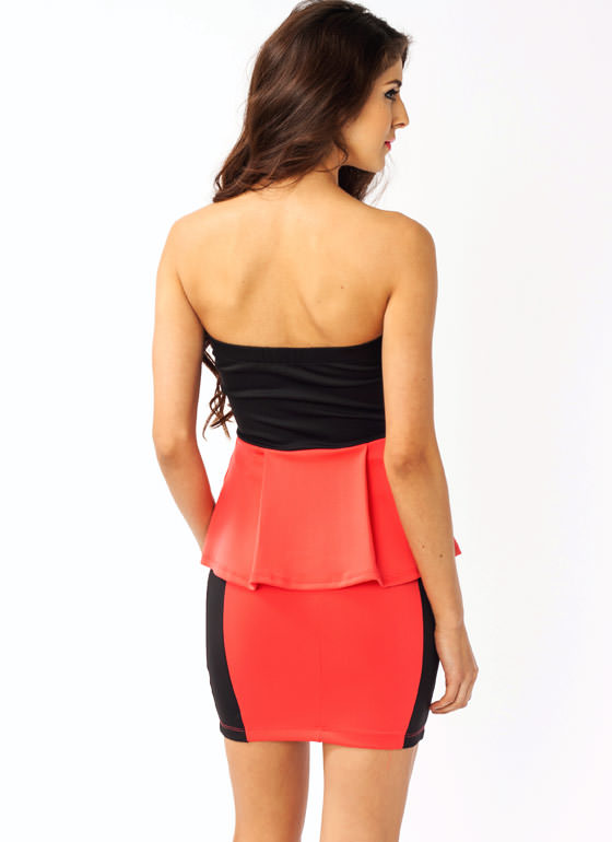 Strapless Peplum Zipper Dress BLACKCORAL