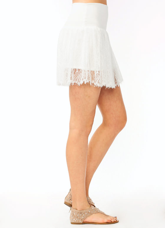 Lace Mini Skirt IVORY