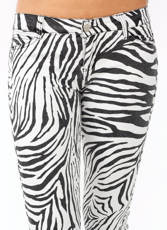 Zebra Skinny Jeans BLACKIVORY (Final Sale)