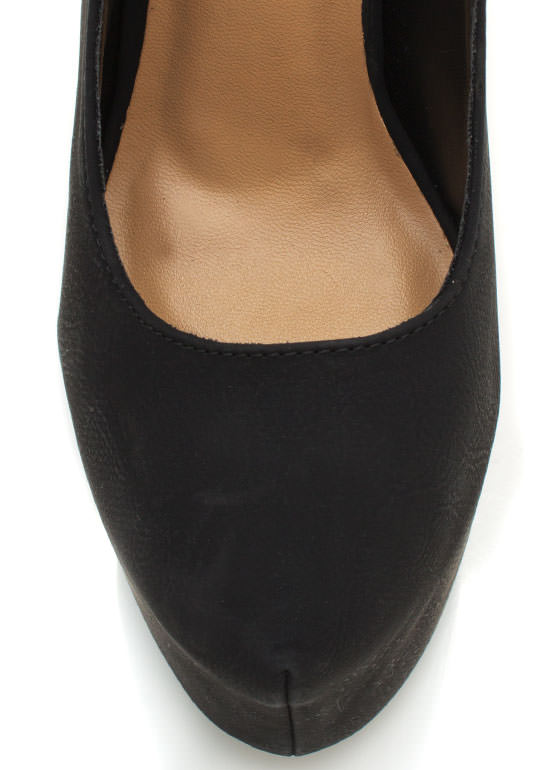 Mary Jane Platform Pumps BLACK