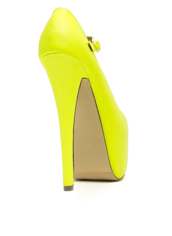Mary Jane Platform Pumps NEONYELLOW