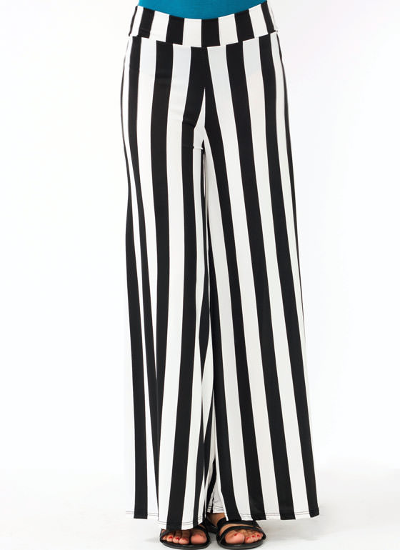 Striped Wide Leg Pants BLACKWHITE