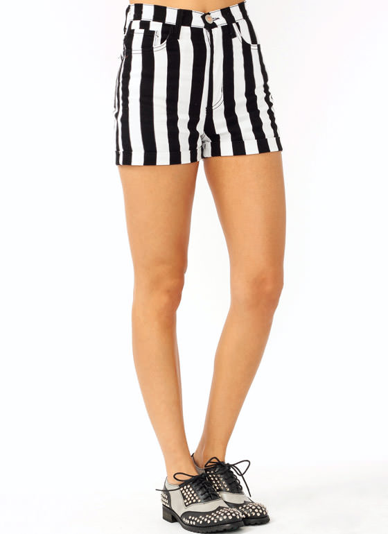 High Waisted Striped Shorts BLACKWHITE