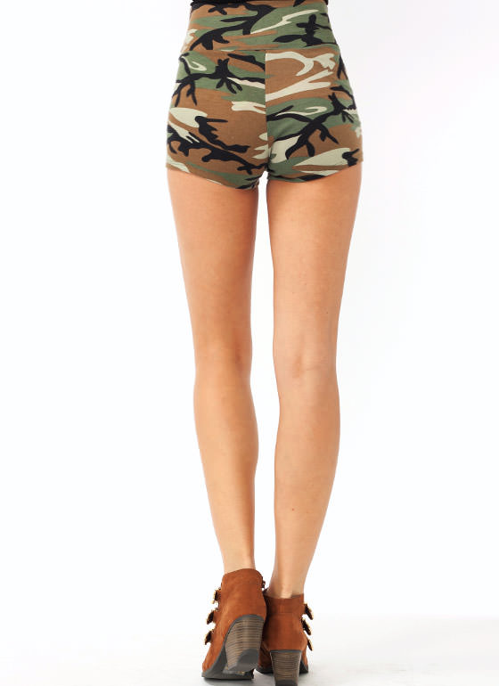 Camo Zipper Shorts OLIVEBLACK