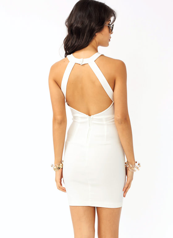 Mesh Accent Strappy Dress IVORY