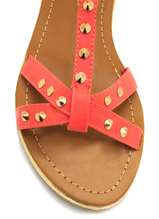 Studded Strappy Sandals CORAL