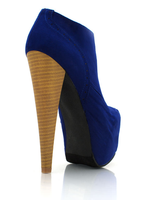 Faux Suede Platform Booties ROYAL