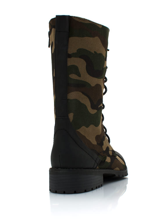 Camouflage Combat Boots BLACKGREEN