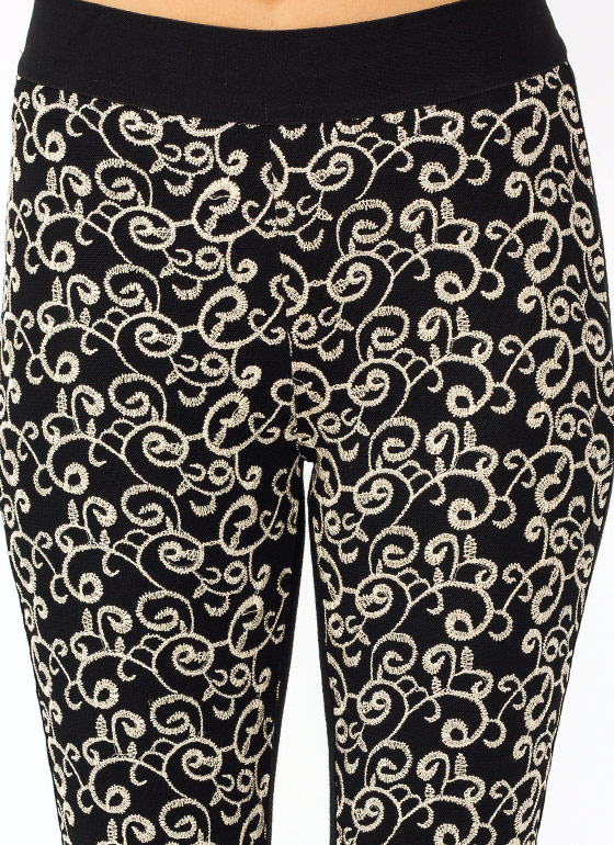 Embroidered Leggings GOLDBLACK