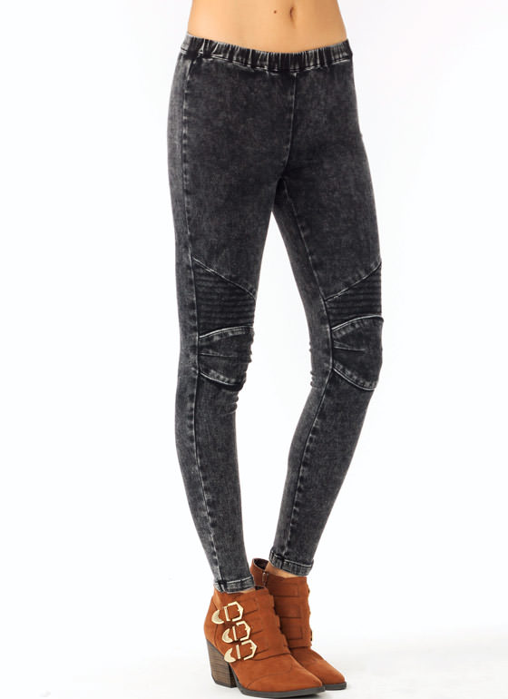 Acid Wash Jeggings BLACK