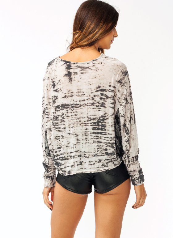 Batwing Tie Dye Top BROWNCREAM