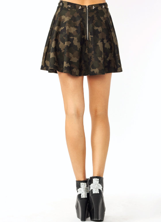 Star Studded Camo Skirt OLIVEBROWN