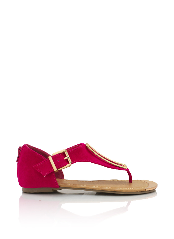 Metallic Rectangle Accent Sandal FUCHSIA