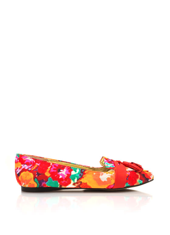 Floral Tassel Pointy Flats RED