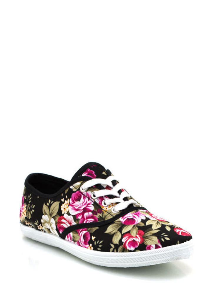 Floral Lace Up Sneakers BLACK