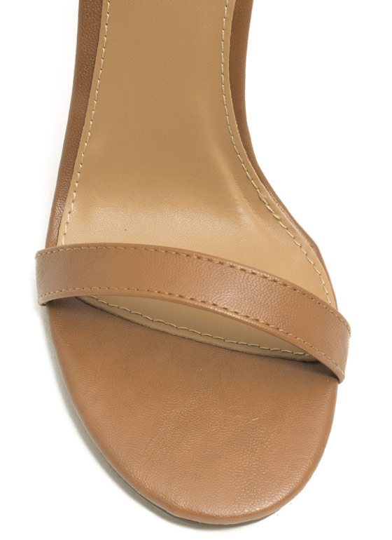 Strappy Faux Leather Heels TAN