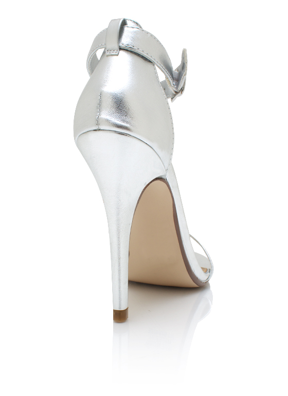 Strappy Metallic Heels SILVER
