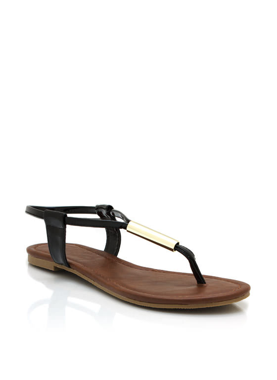 Metallic Accent Thong Sandals BLACK