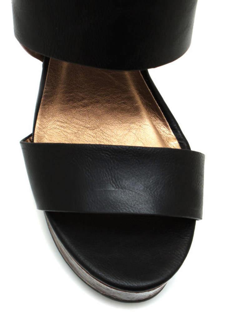 Strappy Faux Wood Wedges BLACK