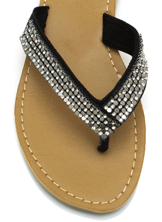 Chainmail Embellished Flip Flops BLACK