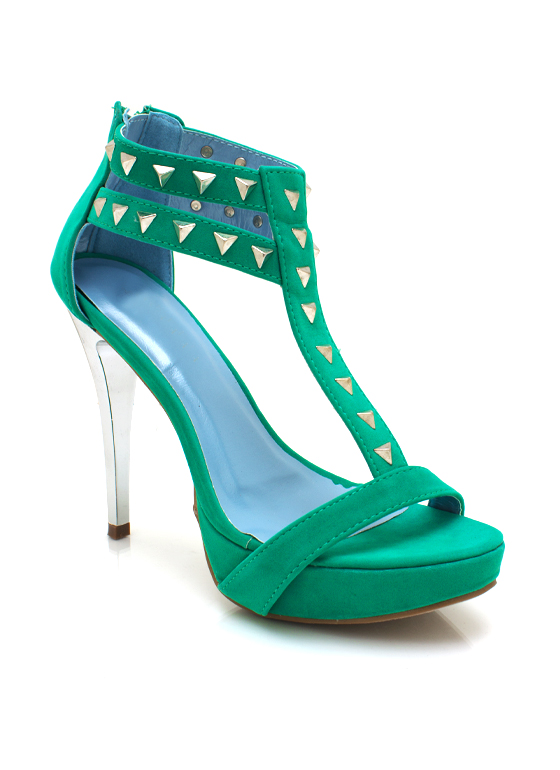 Studded Contrast Platforms TURQUOISE