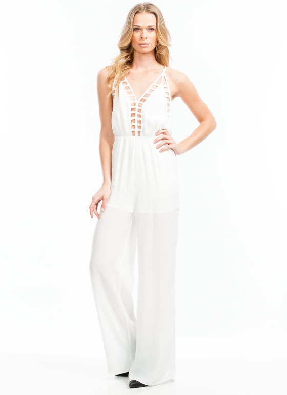 Strappy Crisscross Jumpsuit WHITE
