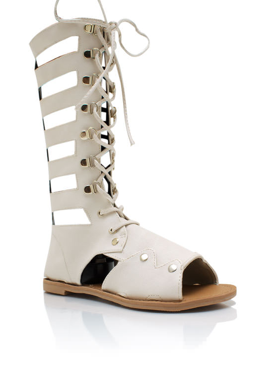 Lace Up Gladiator Sandals IVORY