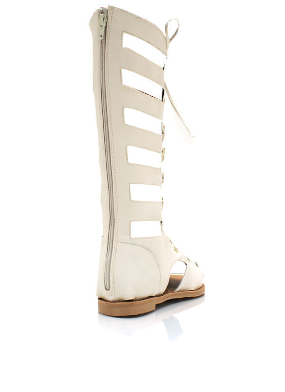 Lace Up Gladiator Sandals IVORY (Final Sale)