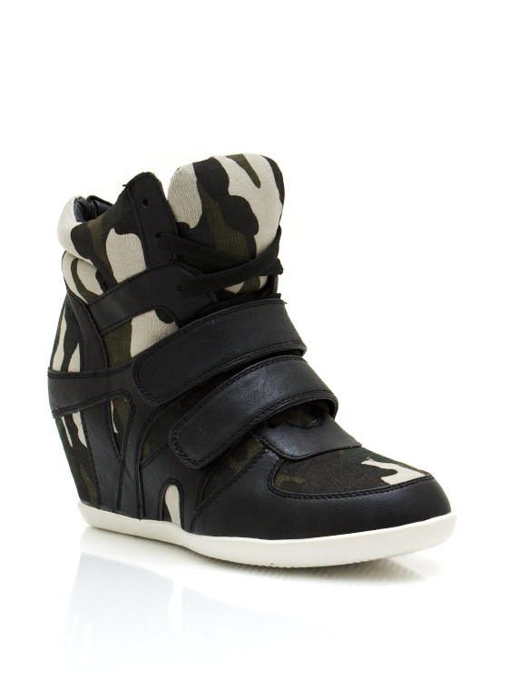 Camo Wedge Sneakers BLACKCAMO